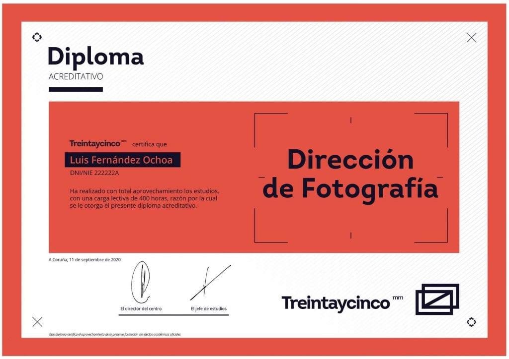 Diploma del curso de Dirección de Fotografía