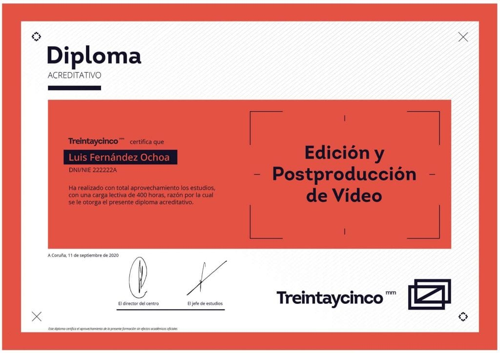 Diploma de Edición y postproducción de vídeo