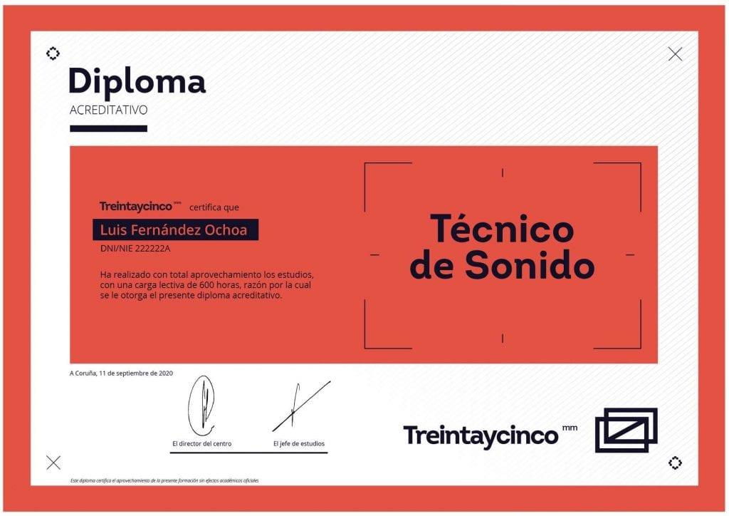 Diploma curso de técnico de sonido